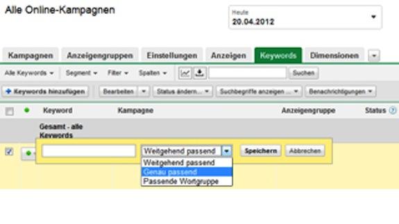 AdWords-Keyword-Tool-Keyword-Optionen