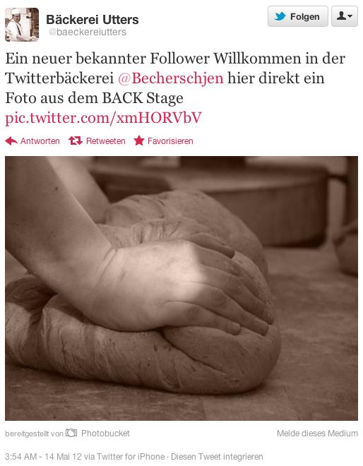 Twitter für Bäcker Beispiel Winlocal