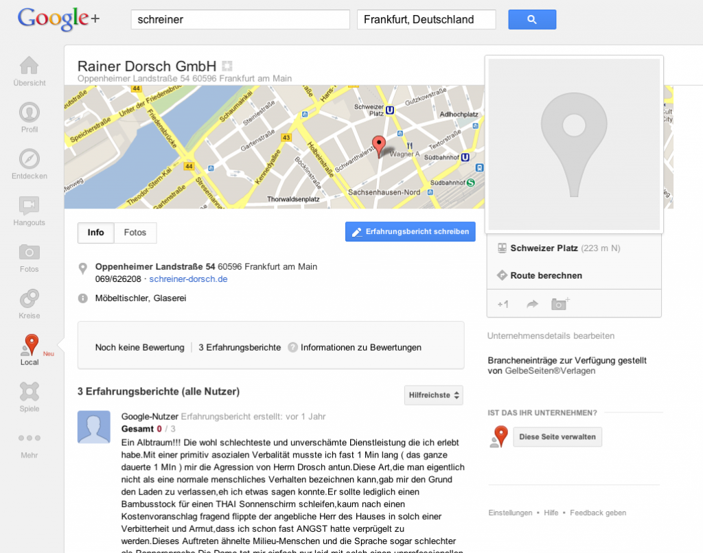 Google Plus Local Beispiel 3