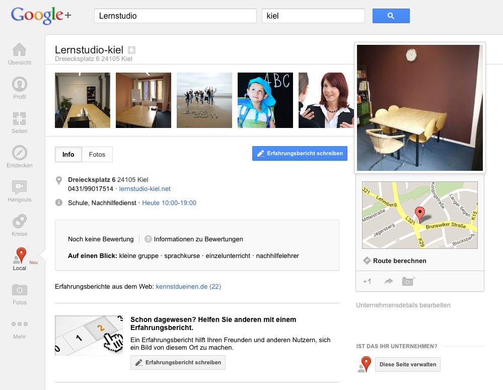 Google Plus Local Lernstudio Kiel