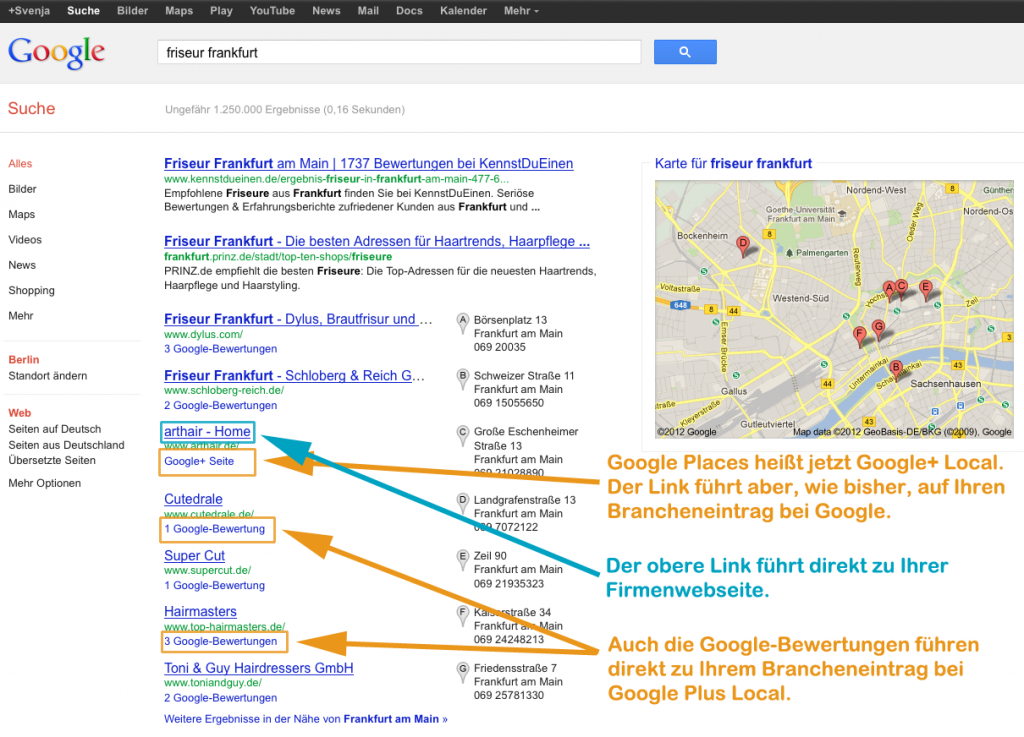 Google Plus Local SERPs