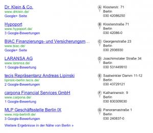 Lokale Google Suche Finanzberater Berlin