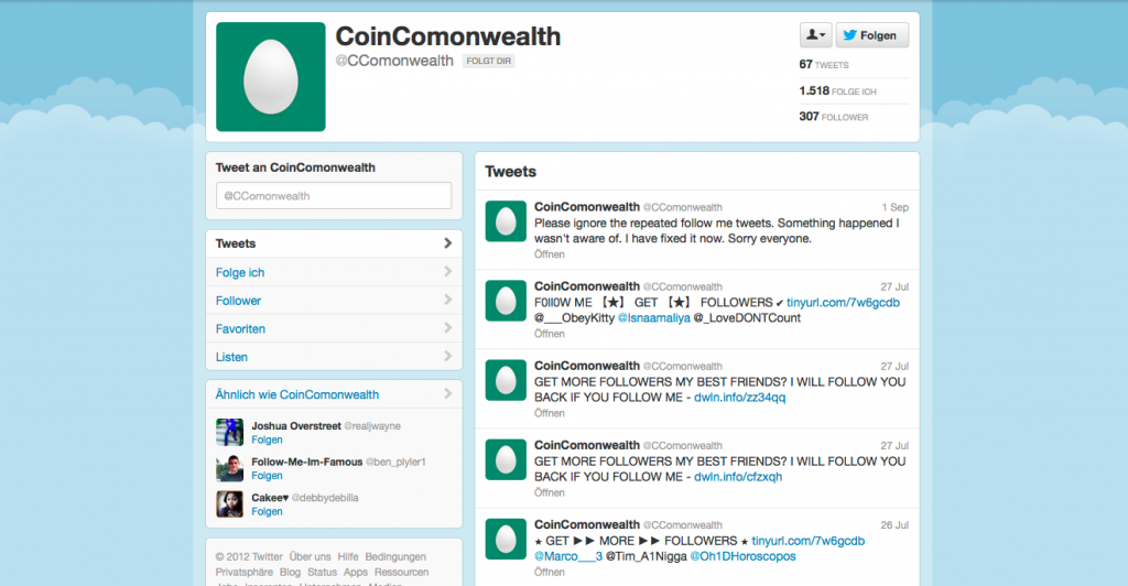Fake Follower Aktives leeres profil