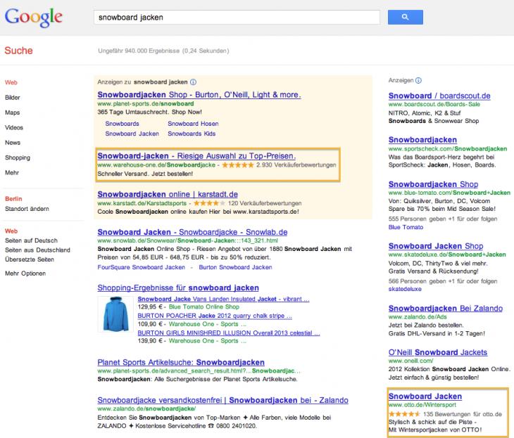 Suchergebnis Beispiel Verkäuferbewertungs-Erweiterung AdWords