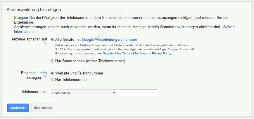 LoDiMa mit Google AdWords: Anruferweiterung