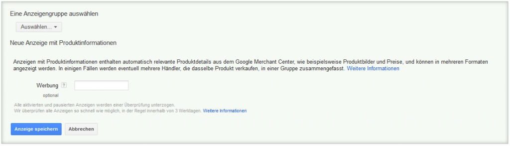 LoDiMa mit Google AdWords: Textanzeige mit Produktinformationen