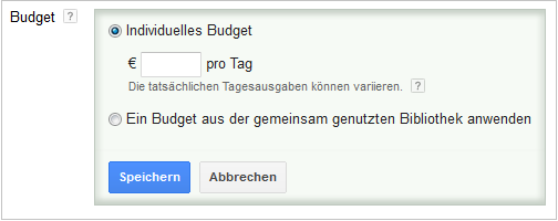 LoDiMa mit Google AdWords: Budget