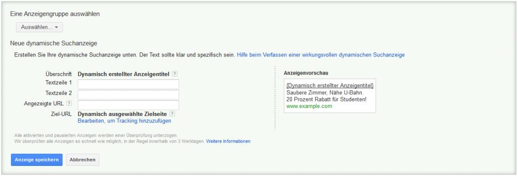 LoDiMa mit Google AdWords: Dynamische Suchanzeige
