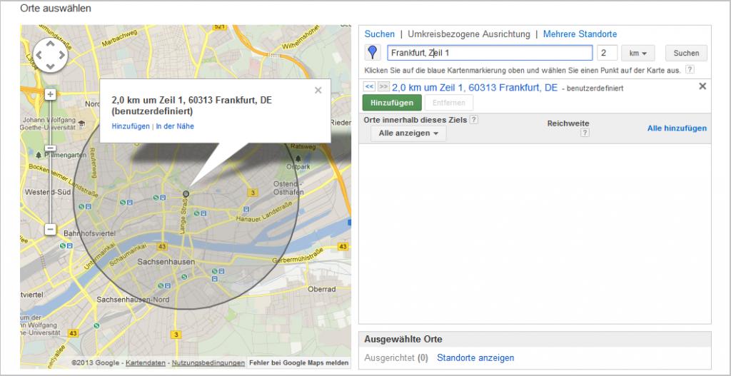 LoDiMa mit Google AdWords: Geografisch Orte