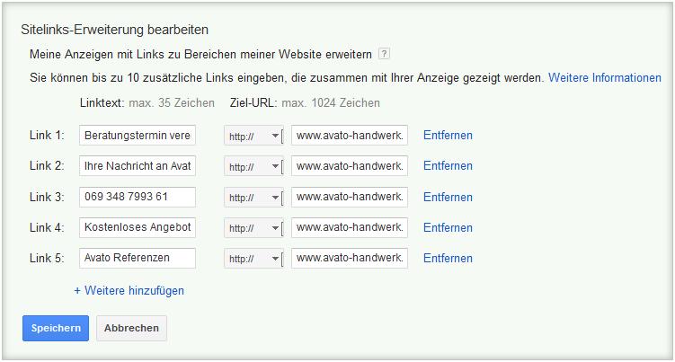 LoDiMa mit Google AdWords: Sitelinks-Erweiterung