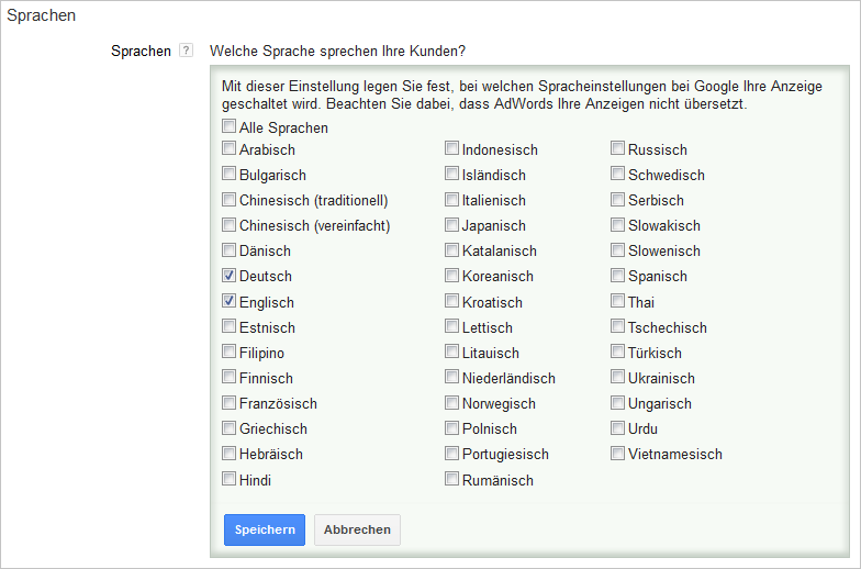 LoDiMa mit Google AdWords: Sprache