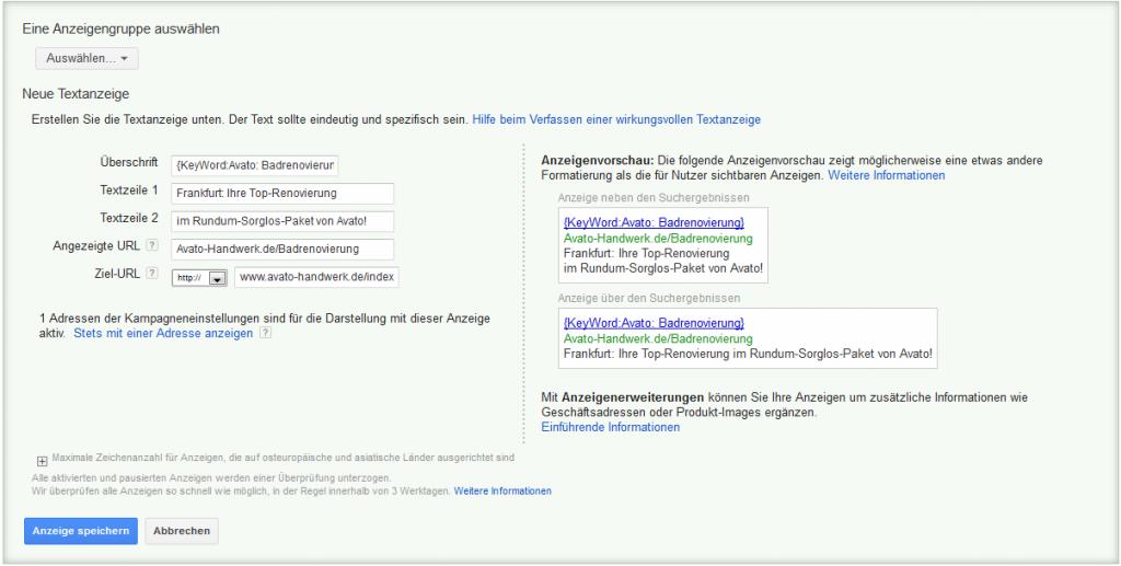 LoDiMa mit Google AdWords: Textanzeige