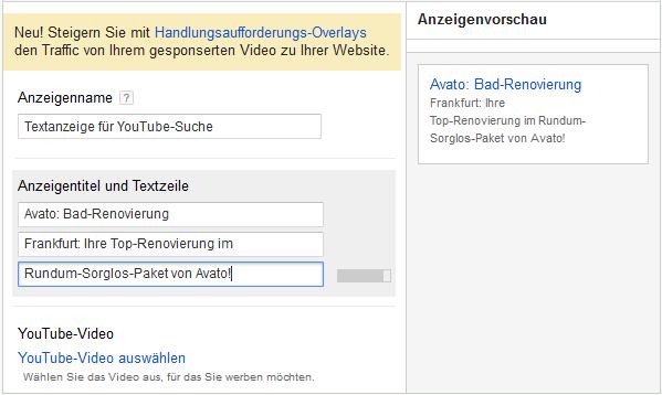 LoDiMa mit Google AdWords: Textanzeige für YouTube-Suche