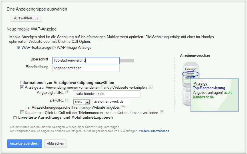 LoDiMa mit Google AdWords: WAP-Textanzeige