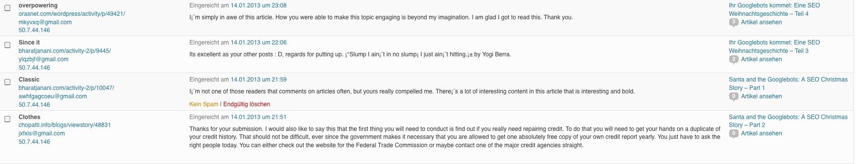 Corporate Blog Kommentarspam
