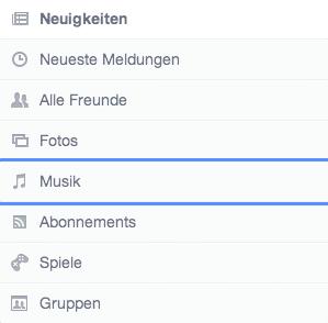 Facebook neues Design Kategorien
