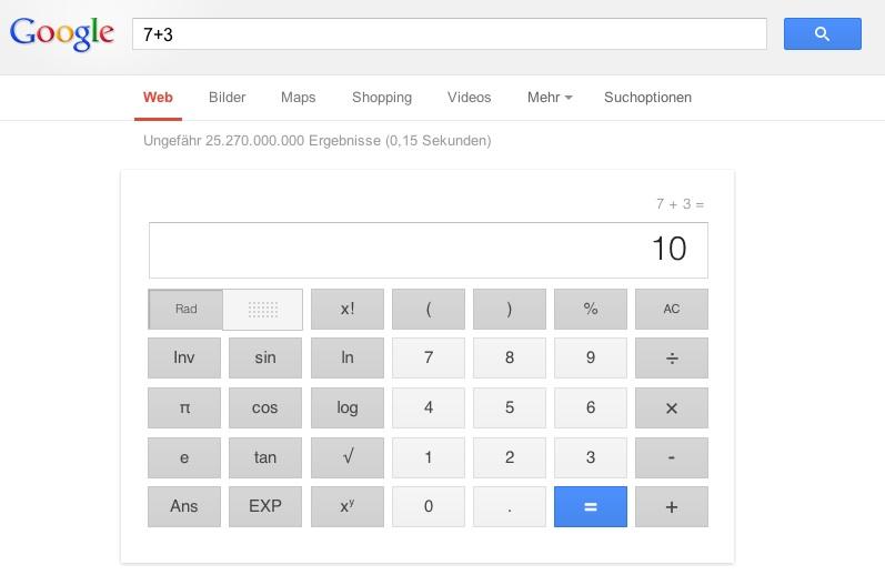 Google Suchergebnisse Rechner