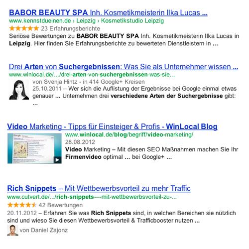 Suchergebnisse und Rich Snippets