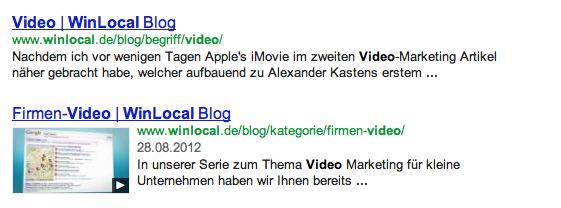 Video Vorschaubild in den Suchergebnissen
