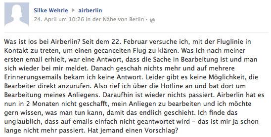 Unzufriedene Kundin beschwert sich bei AirBerlin