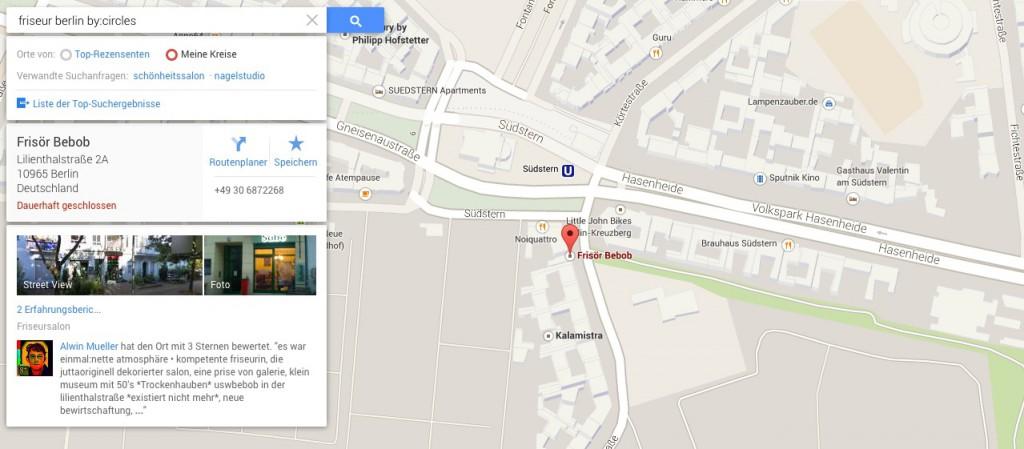 Bewertungen bei Google Maps nach Kreisen