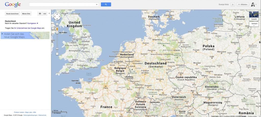Das alte Google Maps Startseite