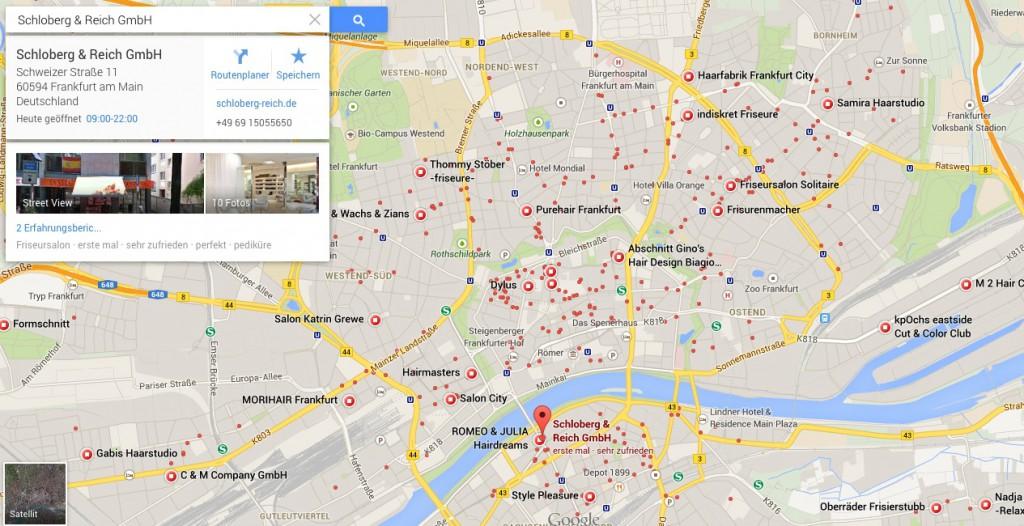 Google Maps Darstellung von Standorten