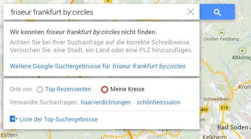 Google Maps Bewertungen nach Kreisen sortiert