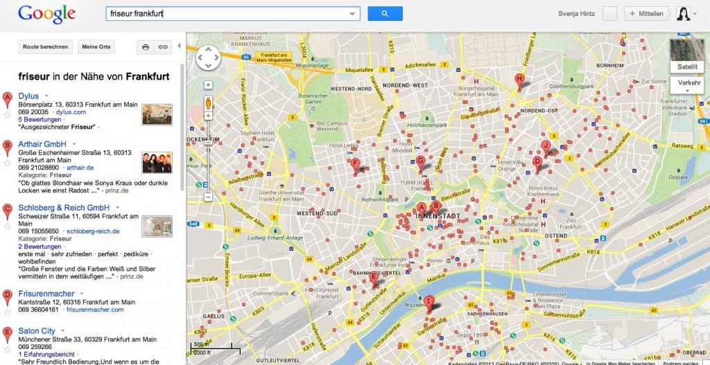 Lokale Suchanfrage im alten Google Maps