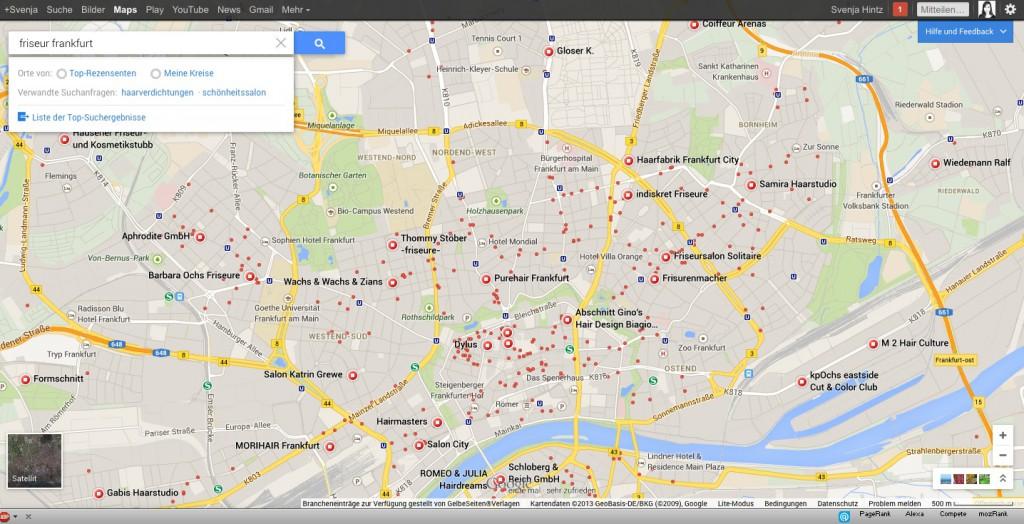 Lokale Suchanfrage im neuen Google Maps
