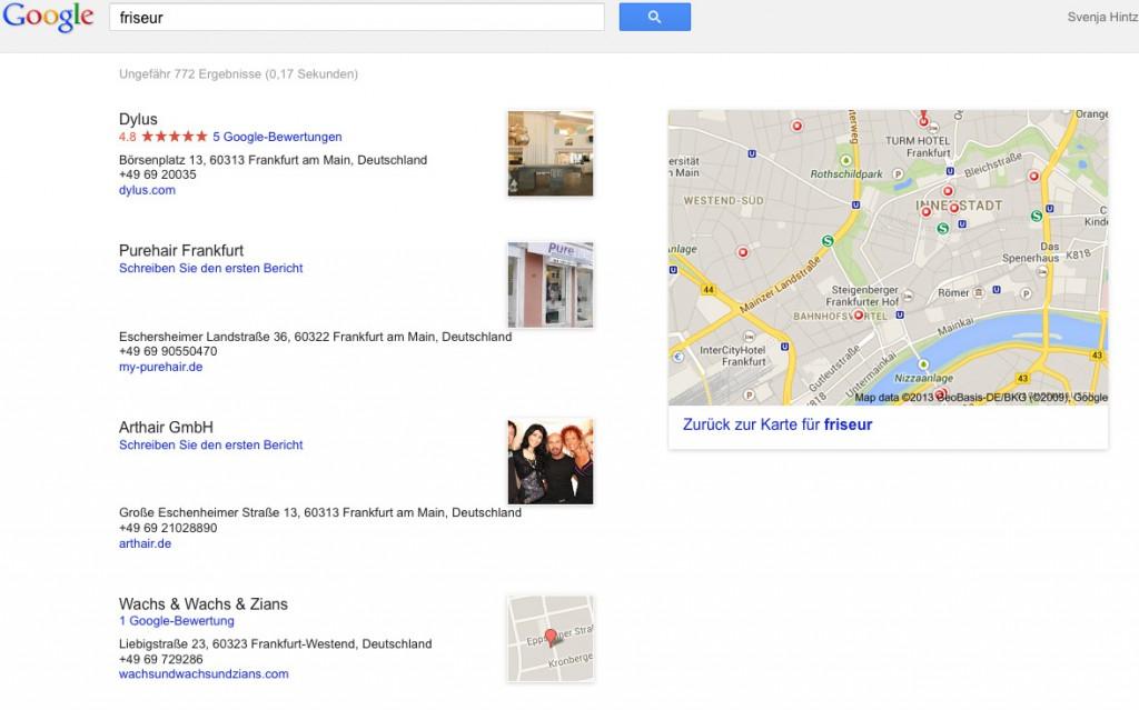 Lokale Suchergebnissseite bei Google