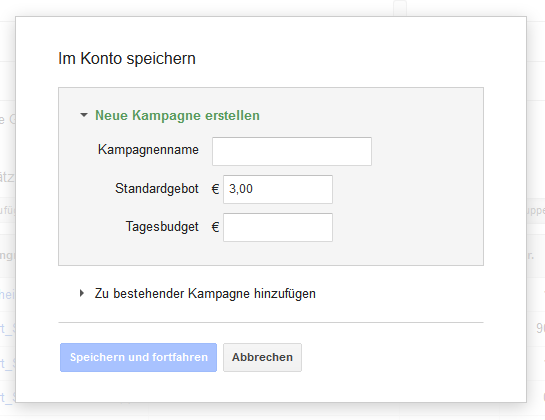 Keyword-Planer: Finale Kampagne aus Anzeigengruppe(n) und Keyword(s) speichern