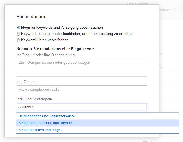 Keyword-Planer: Direkte Eingaben, Website-Inhalte oder Googles Produktkategorien als Ideen-Quellen
