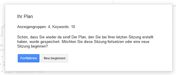 Keyword-Planer: Automatisches Speicher einer Sitzung