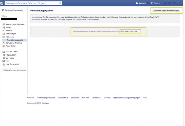 Finanzierungsquelle hinzufügen Facebook
