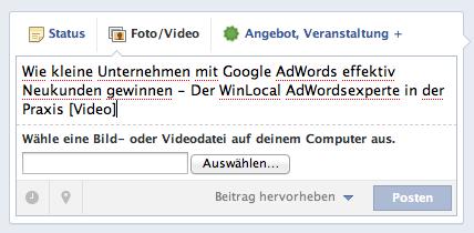 Update Text festlegen für Facebook Post Firmen Video