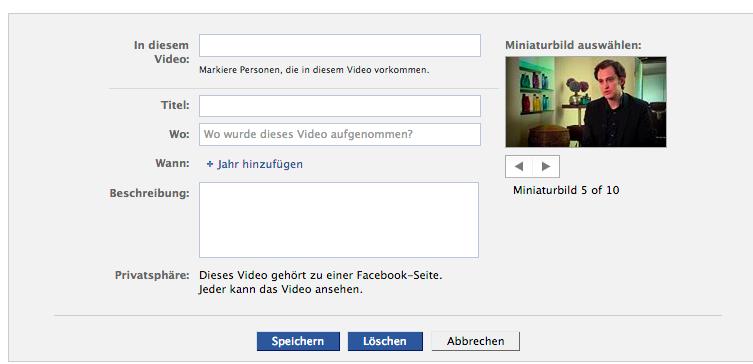 Video Vorschaubild auswaehlen facebook Werbung