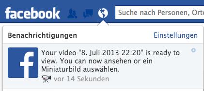 Video fertig hochgeladen Facbook Werbung