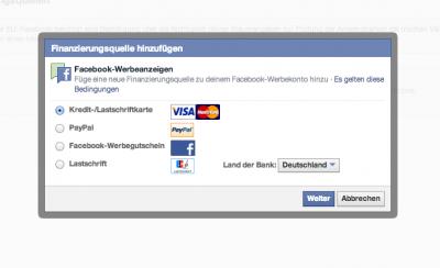 Zahlungsoptionen facebook
