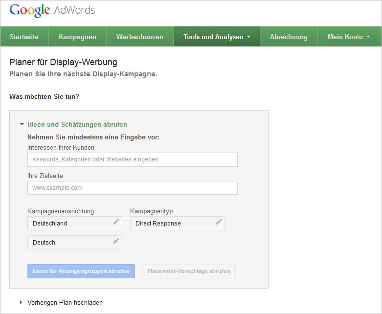 Ad Planner unter Tools und Analysen im AdWords-Konto