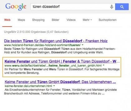 Organische Suchergebnisse