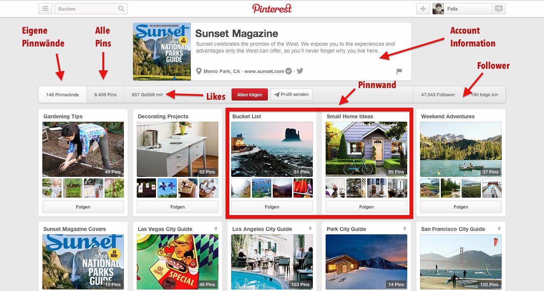 Pinterest Profilseite