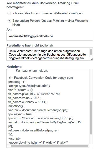 tracking pixel Einbau facebook werbung