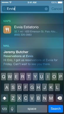 Apple Spotlight lokale Suche demo