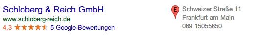 Bewertungssterne Suchergebnis Google Places