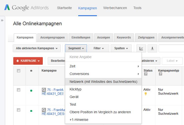 Google Suchnetzwerk-Segment-Netzwerk
