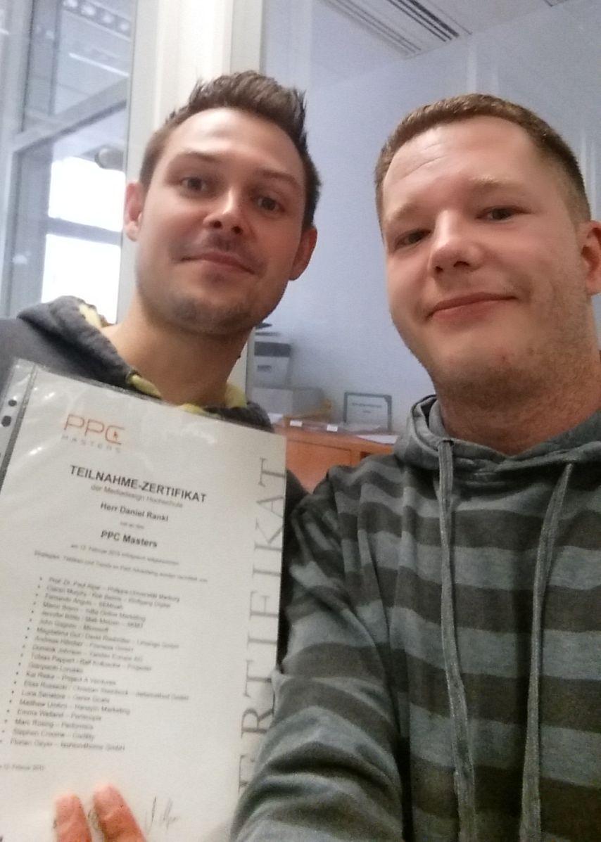 Daniel Rankl und Stefan Quartieri präsentieren stolz ihr PPC Masters Zertifikat