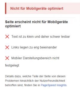 Test auf Optimierung für MobilgeräteDurchgefallen