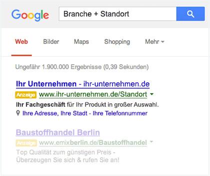 Google-Suchergebnisseite-lokale-Suche